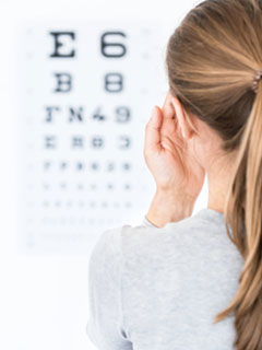 Lady Reading An Eye Chart With One Eye Closed- Eyecare Services Pensacola- Fifty Dollar Eye Guy 5328 N Davis Hwy Pensacola, FL 32503 (850) 434-6387